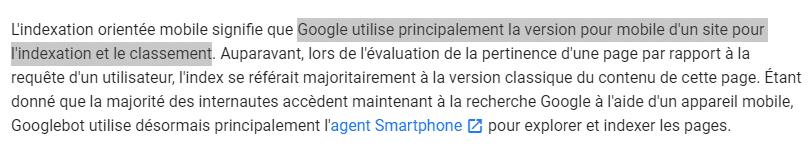 Google utilise principalement la version pour mobile d un site