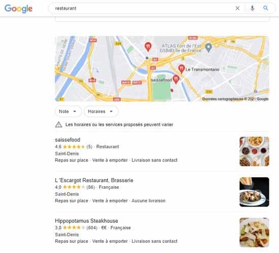 Recherche restaurant