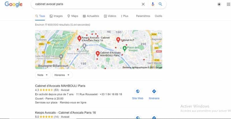 Recherche cabinet avocat Paris