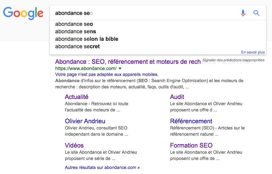 Recherche google abondance seo