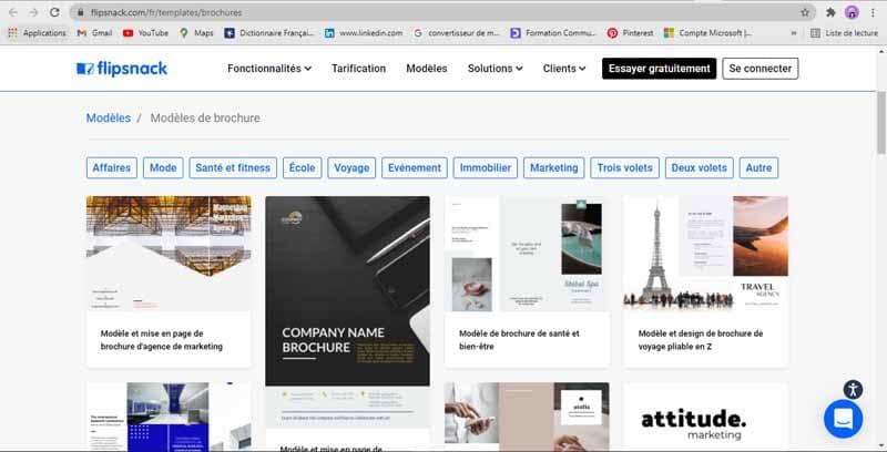 Site web de brochures et de catalogues