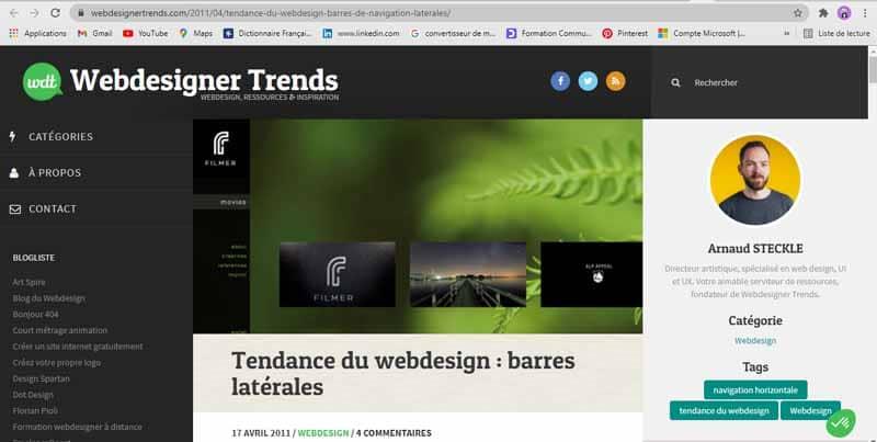 Barre laterale site web