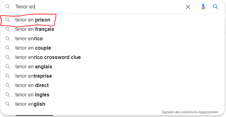 Recherche google Tenor en