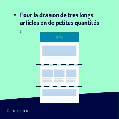 Carrousel - Balise de pagination PART 2-07 Division de tres longs articles