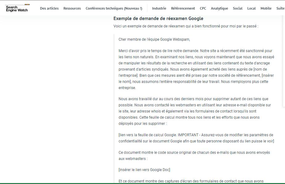 Exemple de demande de reexamen google
