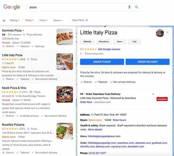 Recherche Pizza