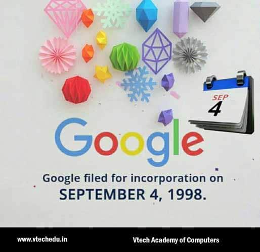 Date de demande de constitution de la societe Google